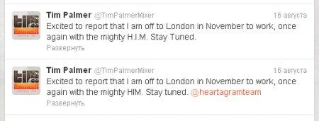 Тим Палмер снова с HIM!