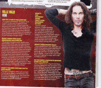 Интервью Вилле Вало о Хеллоуине и страхах журналу Kerrang!